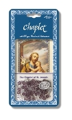 "Saint Joseph Deluxe Chaplet with Violet and Crystal Glass Beads Packaged with a Laminated Holy Card & Instruction Pamphlet (Overall 6.5"" x 3.5"")"