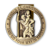ROUND ST CHRISTOPHER VISOR CLIP GO YOUR WAY SAFETY ANTIQUED BRASS Auto V Auto Visor Clips Car Visor Clip