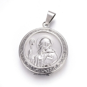 Stainless Steel 304 Stainless Steel Locket Pendants, Photo Frame Charms for Necklaces, Flat Round with Saint Benedict, Size: about 31mm wide, 35.5mm long, 9mm thick, 23mm inner diameter, hole: 4.8x8.5mm