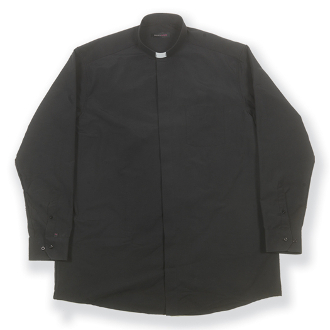 Free Shipping 100% Cotton Black Long Sleeve Single Pocket Clergy Shirt. This Highest Quality European Tailored Shirt is made with the finest fabrics available. (Tag Collar Insert Included) WHJ