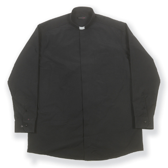 Free Shipping-55% Cotton 45% Polyester Black Long Sleeve Single Pocket Clergy Shirt. This Highest Quality European Finest fabrics available. European Dyed Cloth helps maintain color and shape. (Tag Collar Insert Included) WHJ