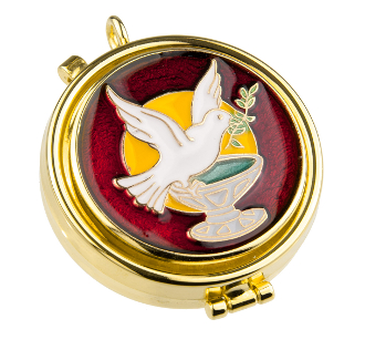 Our Deluxe Pyxes are known for the most Beautiful intricate designs-Made in Italy-Gold FINISH Red Enameled Holy Spirit Pyx. Holds 7 Hosts. -Eucharist minister, priest MADE IN ITALY