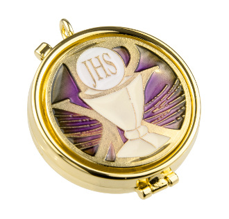 Our Deluxe Pyxes are known for the most Beautiful intricate designs-Made in Italy-Gold FINISH Purple Enameled Chalice Pyx Holds 7 Hosts -Eucharist minister, priest