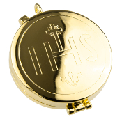 "Our Deluxe Pyxes are known for the most Beautiful intricate designs-Made in Italy-Gold FINISH Gold Deep ""IHS"" Pyx Holds 21 Hosts -Eucharist minister, priest"