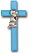 "7"" Blue Cross with Genuine Pewter Praying Boy Figure. (Gift Boxed) Imported Italy.. Baby Baptism Gifts."
