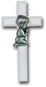 "White 7"" Cross with Genuine Pewter Praying Boy Figure Gift Boxed Imported Italy.. Baby Baptism Gifts."
