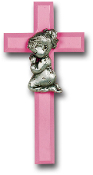 "Pink 7"" Cross with Genuine Pewter Praying Girl Figure Gift Boxed Imported Italy.. Baby Baptism Gifts."