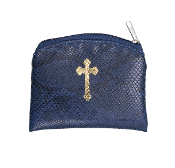 "DARK BLUE REPTILE PATTERN GOLD CROSS STAMPED 3""X4"" ROSARY CASE HOLDER POUCH"