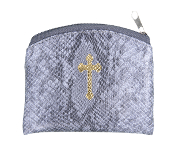 "PEWTER REPTILE PATTERN GOLD CROSS STAMPED 3""X4"" ROSARY CASE"