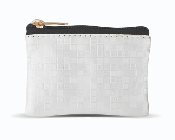 "White Mosaic Patterned Zipper Rosary Pouch.3 1/2"" x 2 1/2"" ROSARY CASE HOLDER POUCH"