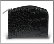 "Black Crocodile Skin Pattern Rosary Pouch with Anti-Tarnish Lining 3.25"" x 4"" Rosary Holder"