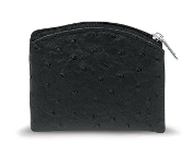 Black Ostrich Skin Pattern Rosary Pouch with Anti-Tarnish Lining