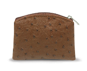 Brown Ostrich Skin Pattern Rosary Pouch with Anti-Tarnish Lining