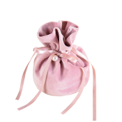 Pink Velour Rosary Pouch Drawstring Bag with Plastic Pearl on Ribbon 3x5""