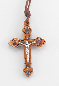 "1-3/4"" Italian Made Olive Wood Crucifix with Four Evangelist Pictured on Cross Ends and Antique Silver Corpus. Fine Laser Cut Details. 27"" Cord (Boxed)"