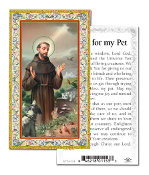 "Saint Francis Prayer To My Pet Gold Embossed Italian Holy Card.Made In Italy 2""x4"" .. Sold 100 Per pack Cards Feature 3/8"" Florentine Border by Fratelli Bonella of Milan, Italy. Corresponding Prayer Printed on the Reverse Side of Card."