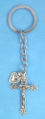 CATHOLIC KEY CHAINS DOUBLE SIDED Crucifix Heart on STAINLESS STEEL LOOP/CHAIN 4 7/8""