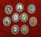 CUSTOM SILVER ROSARY CONNECTORS-CENTERS WITH COLOR PICTURE- This Can be use as an Rosary center, Rosary Connector and Pendant..To Make an Pendant just add an Jump Ring and Chain..