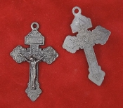 "25/Pc Industrial GunMetal Finish Pardon Crucifix INDULGENCE Cross 2"" ..Our Deluxe Pardon Crucifixes are known for the most Beautiful intricate designs- --Rosary making parts Necklace-"