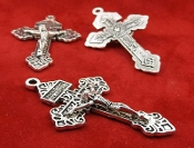 "25/Pc RETRO ANTIQUE SILVER Finish Pardon Crucifix INDULGENCE 2"" Cross 2"" INDULGENCE CRUCIFIXES for pendants, making rosaries etc"