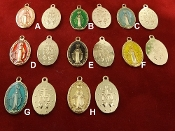 "Deluxe Color Enamel Miraculous Medals 1"" oval Shiny Gold Finish, BLUE, RED, GREEN YELLOW, PINK AND GOLD"
