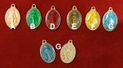 "Deluxe Color Enamel Miraculous Medals 0.65"" x 0.50"" oval Shiny Gold Finish, BLUE, RED, GREEN YELLOW, PINK, COFFEE AND GOLD AS LOW AS 45¢ EACH"