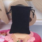 Rosary Jewelry Pouches Bag Black Velveteen with Drawstring 2.75 x 3""