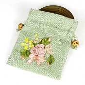 "Cotton Rosary Pouches with Linen Draw String 4.25 x 4"" Flowers"