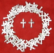 Tiny 1.7cm Silver Plated Crucifix DOUBLE SIDED Bracelet Part