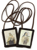 "100% WOOL BROWN SCAPULAR SAINT THERESE OUR LADY OF MOUNT CARMEL 1 3/4""X2"""