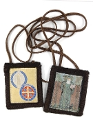 "OUR LADY OF MOUNT CARMEL 100% WOOL BROWN SCAPULAR SAINT BENEDICT 1 3/4""X2"" Genuine 100% Wool Features Images of the, SAINT BENEDICT"