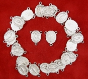 10/Pc Deluxe Miraculous 1830 Rosary Centerpiece Genuine Silver Oxidized 1.6cm Rosary Parts