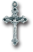 "Our Deluxe Rosary Crucifixes are known for the most beautiful intricate designs Rosary parts Made in Italy Largest selection of inexpensive Rosary supplies on the web 50/Pc Premium Italian made Tiny Crucifix 3/4"" Silver Oxidized"