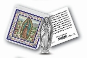 "My Catholic Pocket Statue OUR LADY OF GUADALUPE with Holy Card Clear Pouch...3"" x 3"" Catholic Pocket Statue with Gold Stamped Prayer Holy Card Packaged in a Clear Soft Pouch. Statue: 1 3/4"". Material: Metal Antique Silver..Imported: Italy"