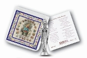 "My Catholic Pocket Statue OUR LADY OF THE ROSARY with Holy Card Clear Pouch...3"" x 3"" Catholic Pocket Statue with Gold Stamped Prayer Holy Card Packaged in a Clear Soft Pouch. Statue: 1 3/4"". Material: Metal Antique Silver..Imported: Italy"
