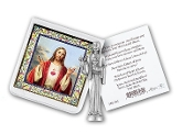 "My Catholic Pocket Statue SACRED HEART OF JESUS with Holy Card Clear Pouch...3"" x 3"" Catholic Pocket Statue with Gold Stamped Prayer Holy Card Packaged in a Clear Soft Pouch. Statue: 1 3/4"". Material: Metal Antique Silver..Imported: Italy"