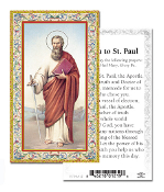 "Novena to Saint Paul Gold Embossed Paper HOLY CARD with Prayer 100/Pack..Made In Italy 2""x4"". Feature 3/8"" Florentine Border by Fratelli Bonella of Milan, Italy. Corresponding Prayer Printed on the Reverse Side of Card."