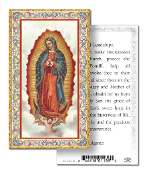 "Our Lady of Guadalupe Gold Embossed Paper HOLY CARD with Prayer 100/Pack..Made In Italy 2""x4"". Feature 3/8"" Florentine Border by Fratelli Bonella of Milan, Italy. Corresponding Prayer Printed on the Reverse Side of Card."