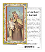 "Our Lady of Mount Carmel Gold Embossed Paper HOLY CARD with Prayer 100/Pack..Made In Italy 2""x4"". Feature 3/8"" Florentine Border by Fratelli Bonella of Milan, Italy. Corresponding Prayer Printed on the Reverse Side of Card."