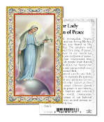 "Our Lady of Peace Gold Embossed Paper HOLY CARD with Prayer 100/Pack..Made In Italy 2""x4"". Feature 3/8"" Florentine Border by Fratelli Bonella of Milan, Italy. Corresponding Prayer Printed on the Reverse Side of Card."