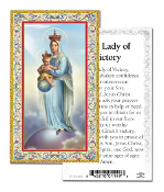 "Our Lady of Victory Gold Embossed Paper HOLY CARD with Prayer 100/Pack..Made In Italy 2""x4"". Feature 3/8"" Florentine Border by Fratelli Bonella of Milan, Italy. Corresponding Prayer Printed on the Reverse Side of Card."