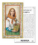 "Prayer to Honor of Saint Dympha Gold Embossed Paper HOLY CARD with Prayer 100/Pack..Made In Italy 2""x4"". Feature 3/8"" Florentine Border by Fratelli Bonella of Milan, Italy. Corresponding Prayer Printed on the Reverse Side of Card."