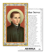 "Prayer to An Altar Server Gold Embossed Paper HOLY CARD with Prayer 100/Pack..Made In Italy 2""x4"". Feature 3/8"" Florentine Border by Fratelli Bonella of Milan, Italy. Corresponding Prayer Printed on the Reverse Side of Card."