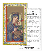 "Prayer to Our Mother of Perpetual Help Gold Embossed Paper HOLY CARD with Prayer 100/Pack..Made In Italy 2""x4"". Feature 3/8"" Florentine Border by Fratelli Bonella of Milan, Italy. Corresponding Prayer Printed on the Reverse Side of Card."