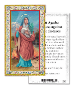 "Prayer to Saint Agatha Gold Embossed Paper HOLY CARD with Prayer 100/Pack..Made In Italy 2""x4"". Feature 3/8"" Florentine Border by Fratelli Bonella of Milan, Italy. Corresponding Prayer Printed on the Reverse Side of Card."
