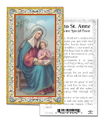 "Prayer to Saint Anne Gold Embossed Paper HOLY CARD with Prayer 100/Pack..Made In Italy 2""x4"". Feature 3/8"" Florentine Border by Fratelli Bonella of Milan, Italy. Corresponding Prayer Printed on the Reverse Side of Card."