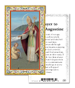 "Prayer to Saint Augustine Gold Embossed Paper HOLY CARD with Prayer 100/Pack..Made In Italy 2""x4"". Feature 3/8"" Florentine Border by Fratelli Bonella of Milan, Italy. Corresponding Prayer Printed on the Reverse Side of Card."