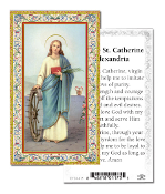 "Prayer to Saint Catherine of Alexandria Holy Card with Prayer ITALY PAPER. Made In Italy 2""x4"" Gold Embossed Italian paper Holy Card with Prayer by Fratelli Bonella of Milan, Italy. Corresponding Prayer Printed on the Reverse Side of Card."