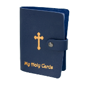 "Blue Leatherette Catholic Prayer Card Holder Snap Closure..Catholic Prayer Card Holder. 20 Page Leatherette Prayer Card Holder Album with Snap Closure and Gold Stamping. 3 1/2 x 5"" Holds up to 40 Prayer Cards. Paper or Laminated"