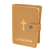 "Tan Leatherette Catholic Prayer Card Holder Snap Closure..Catholic Prayer Card Holder. 20 Page Leatherette Prayer Card Holder Album with Snap Closure and Gold Stamping. 3 1/2 x 5"" Holds up to 40 Prayer Cards. Paper or Laminated"